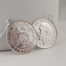 Double Coin Necklace Solid Sterling Silver Lucky Sixpence date 1914 Stunning Gift